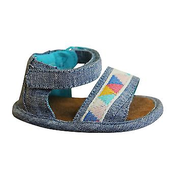 Toms Shiloh Toddlers Sandals Blue Slub Chambray Trible Open Toe Shoes 10011543