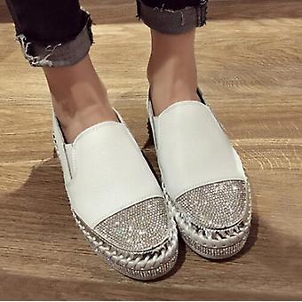 Mujeres genuino cuero Creepers Flats señoras mocasines blanco zapatos de cuero