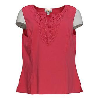 Kathleen Kirkwood Women's Top Split Neck Crochet Cami Pink