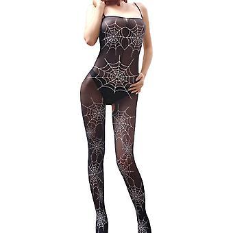One Size Black Cobweb Bodystocking