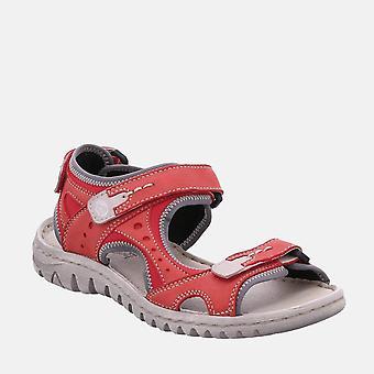 Lucia 17 rubin kombi- josef seibel vermelho couro velcro andando sandália senhoras