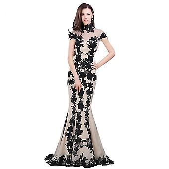 Elegant Black Short Sleeve Evening Dress