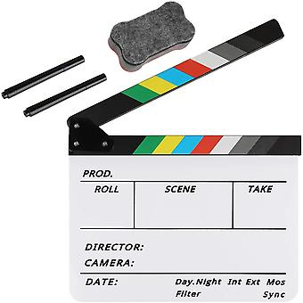 Acrylic Plastic Director's Film Clapboard Easy Wipe Cut Action Scene Clapper