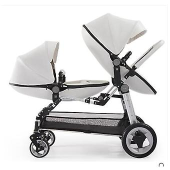Luxury Twin Baby Stroller High Landscape Twin Pram Folding Carriage