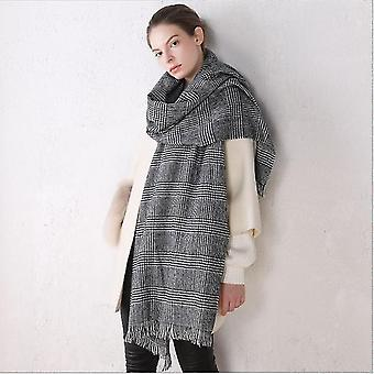 Herfst en Winter Sjaal Zwart-Wit Classic Cashmere Plaid Sjaal Dual-gebruik