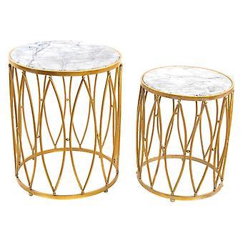 Boční stůl Dekodonia Golden Metal Marble (2 ks)