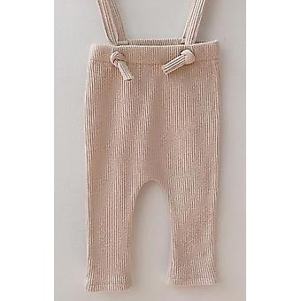 Newborn Trousers Ribbed Cotton Leggings Strap Pants For Baby