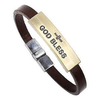 Handcrafted Christian God Bless Arm Leather Brecelet