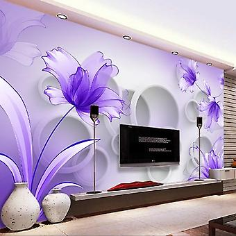 Painting Purple Lily Transparent Flowers Modern Fashion 3d Living Room Tv