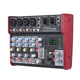 Mixeur portable de console de mixage de carte son à 6 canaux intégré en 16 effets avec interface audio usb