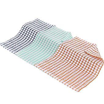 Tre tehåndklær i tre forskjellige farger