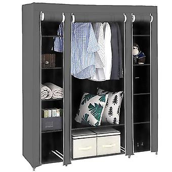 Black Non-woven Three Door Wardrobe Household Clothes And Shoe Storage Rack