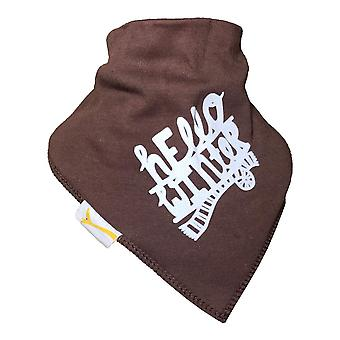 Brown hello winter bandana bib
