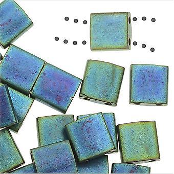 Miyuki Tila 2 отверстия Квадратные бусины 5 мм - Матовый металл Синий Зеленый 7,2 грамма