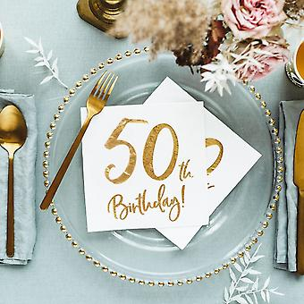 50th Birthday Paper Party Napkins x 20 White and Gold