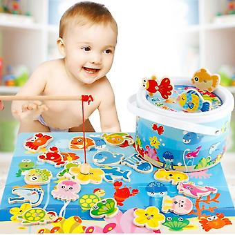 3d Wooden Magnet Fishing Set, Simulation Play House, Magnetic Learning Fish
