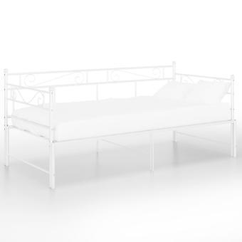 vidaXL Vedettävä vuodesohvan kehys Valkoinen metalli 90x200 cm