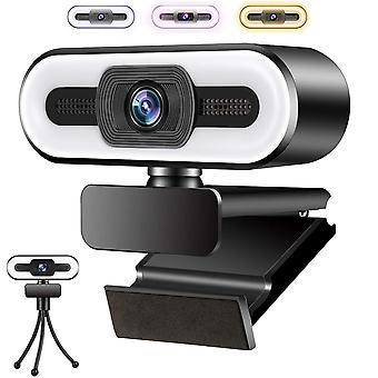 1080P HD Webcam, Web Camera met Microfoon en Lichtring 3 Kleuren voor PC /Laptop/Mac, Plug and Play, Gebruikt voor Video Calls en Meetings, Online Teaching, Games (Zwart)