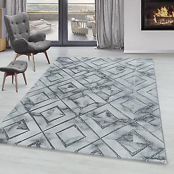 Tappeto soggiorno OXIA modello di design a pila corta Losanga marmorata