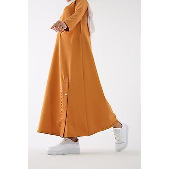 Hem yksityiskohtainen painettu pitkä mekko tasku