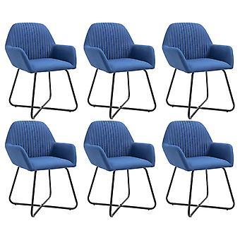 vidaXL تناول الطعام الكراسي 6 PCS. النسيج الأزرق