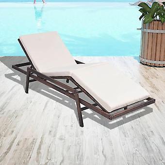 chaises perlées vidaXL avec support poly rotin Brun