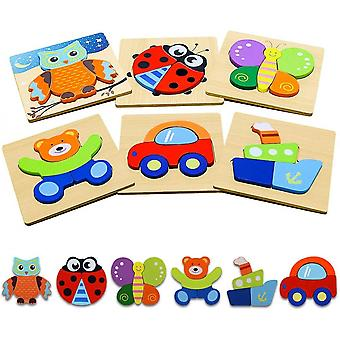 Animal Puzzles For Toddlers,6 Pcs Wooden Jigsaw Puzzles For Kids