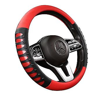 New Leather Steering Wheel Cover 38cm Diameter Breathable Silicone Anti-slip(Red)