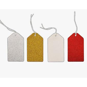24 grandes etiquetas de regalo rojas, doradas, plateadas y blancas brillantes