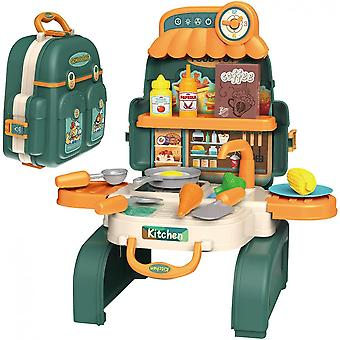 Backpack Kitchen Set For Kids, 3 In 1mini Kitchen Pretend Play Toys