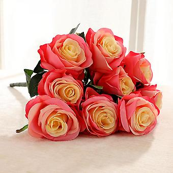 Fake Flower Wedding Holding 15 Bunches Of Big Roses