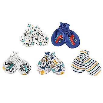 5pairs pasgeboren baby anti krassen katoenen handschoenen