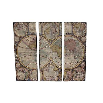 3 Piece Old World Map Canvas Prints