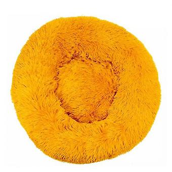 Round Basket For Dog And Cat Soft Plush Cushion Dog Cat For Sleeping In Winter Golden