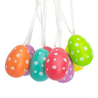 8 Pack 5cm Ljus Färg Polka Dot Plast Hängande Ägg för påskträd