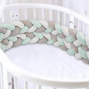 Four Strand Hand Woven Baby Crib Guardrail For Kids Room Single Anti-collision Decoration Bed Fence (2m Grayish White Blue Green)