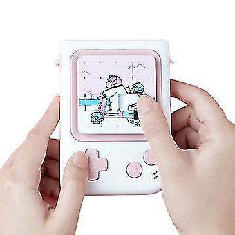 Polar tuuletin USB mini roikkuu kaula pieni tuuletin lasten sarjakuvapöytä seisoo tuuletin palapeli (Vaaleanpunainen)