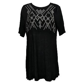 Antthony Women's Top Embellished Elbow-Sleeve Tunic Black 747082
