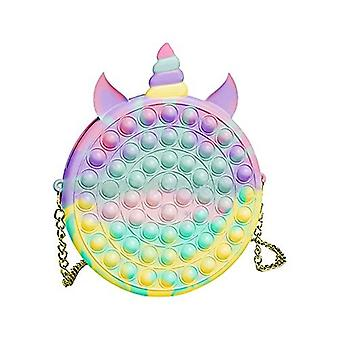 Pop Fidget Sensory Toy Shoulder Bags, 2 In 1 Fashion Shoulder Bag And Cute Push Bubble Silicone Stress Reliever Toy With Removable Shoulder Strap For