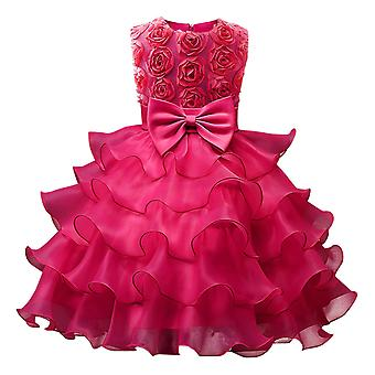 Princess Girls Bowknot Kids Flower Lace Tulle Dress/gown For Wedding Bridesmaid Communion