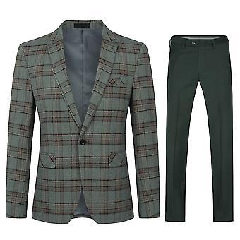 Mile Mens Suits 2 Piece Slim Fit Checked Suit Single Breasted Herringbone Vintage Suit Tuxedo Jacket Trouser