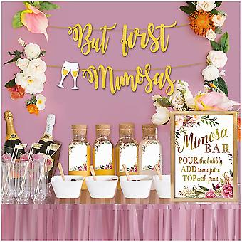 Mimosa Bar Sign Banner Tags - Gold Floral Decorations For Bridal Shower Bubbly Bar Champagne Baby Shower Wedding Birthday Party Graduation F