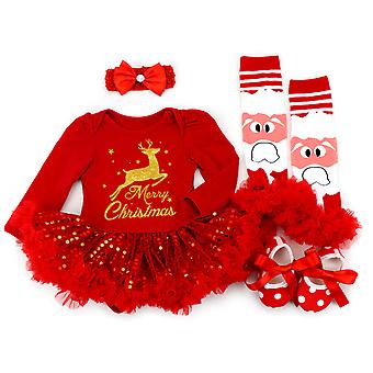 Toddler Baby Infant Girl My 1st Christmas Outfit Xmas Tutu Dress Set