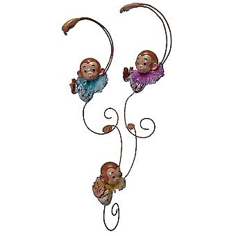 Little Baby Monkeys Link Together Christmas Holiday Ornaments Set of 3