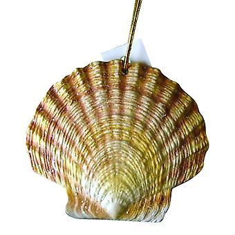 Tropical Beach Seashell Christmas Ornament Yellow 4 Inches ORNShell09 Resin