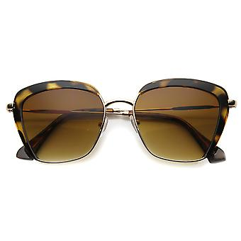 Womens Horn Rimmed Sunglasses With UV400 Protected Gradient Lens