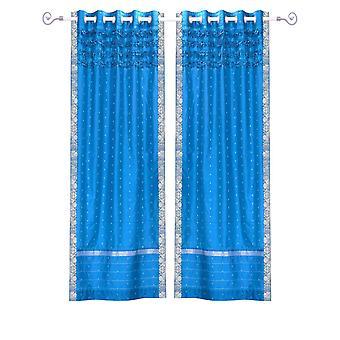 Insel der blauen Hand gestaltete Tülle Top schiere Sari Vorhang Panel - Stück