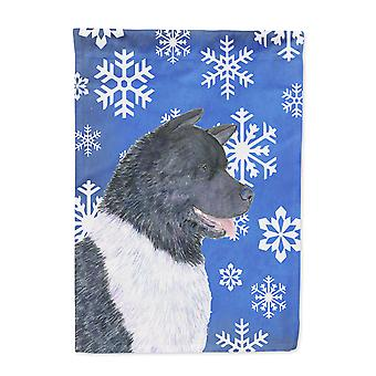 Carolines Treasures  SS4659-FLAG-PARENT Akita Winter Snowflakes Holiday Flag