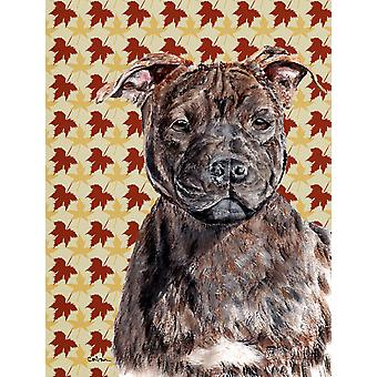 Staffordshire Bull Terrier Staffie Fall Leaves Flag Garden Size
