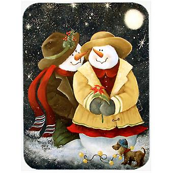 Love at Christmas Snowman Glass Cutting Board Large